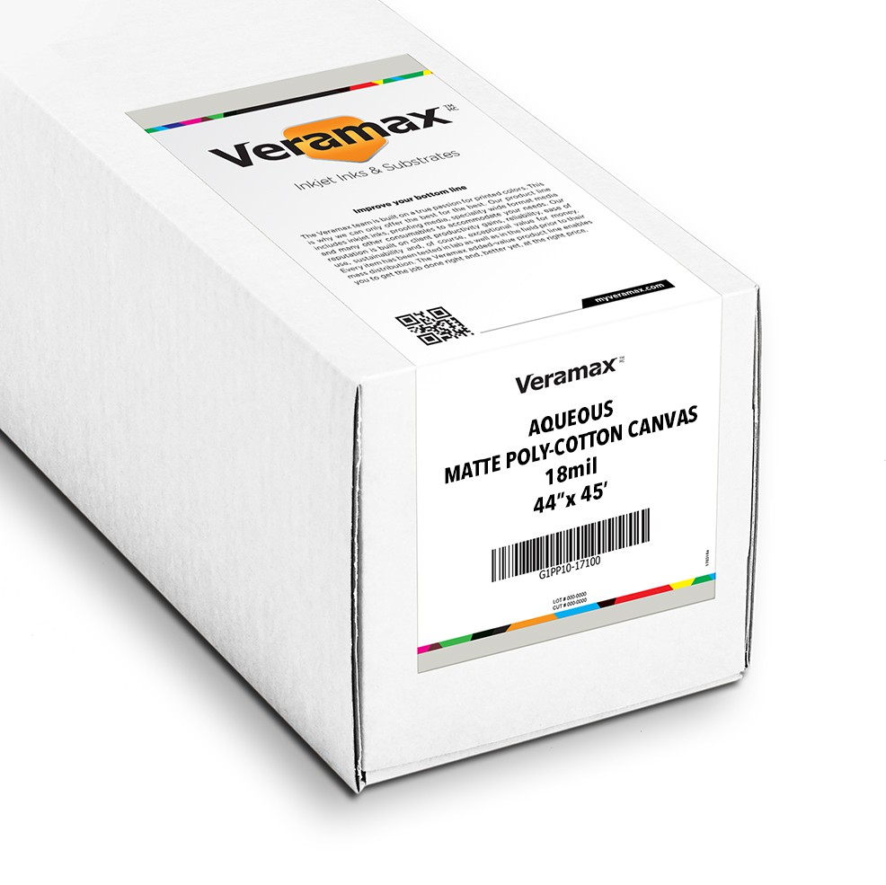 Veramax Aqueous Canvas Matte Poly-Cotton 18mil 44in x 45ft