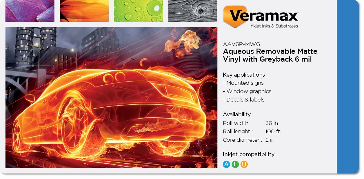 Veramax Aqueous Vinyl Matte Rem Greyback Adh 6mil