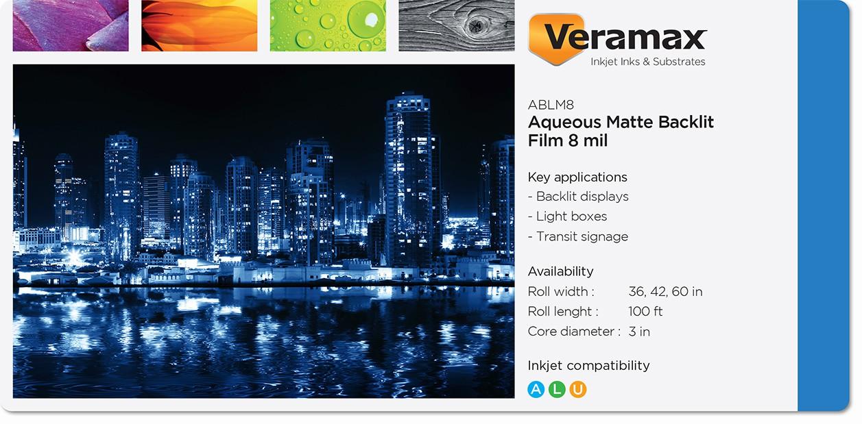 Veramax Aqueous Backlit Matte Film 8mil