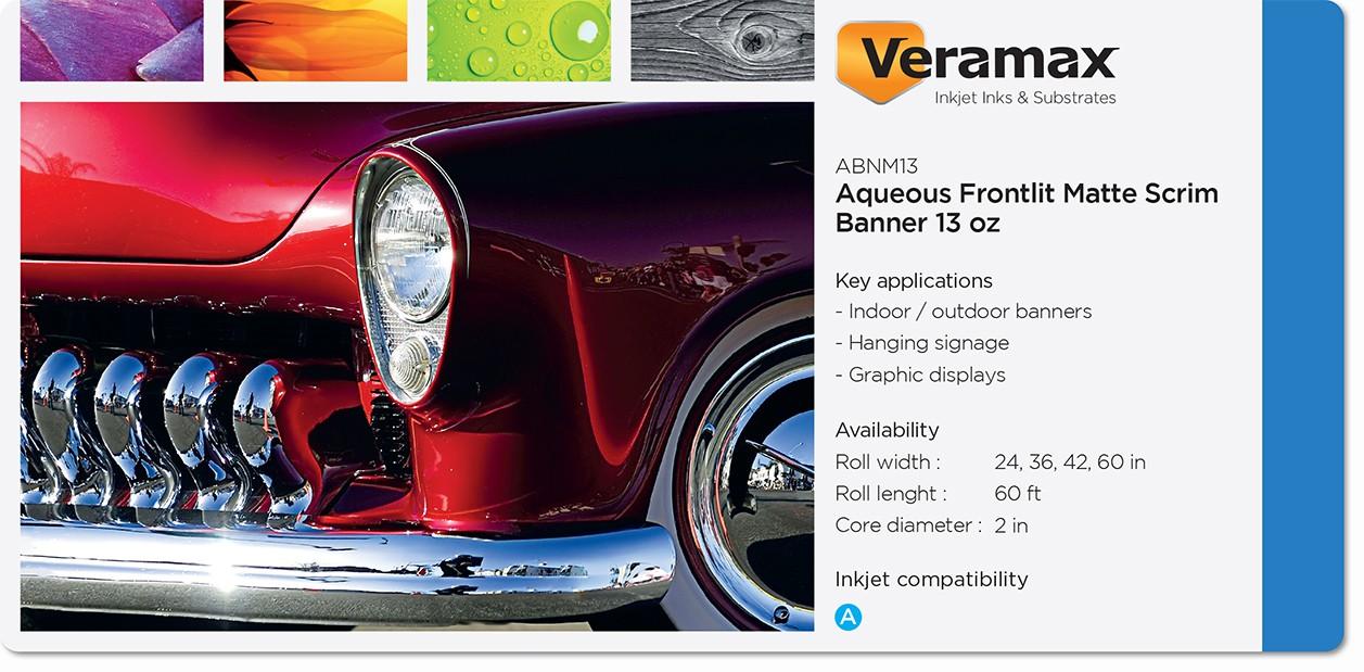 Veramax Aqueous PVC FL Matte Scrim Banner 13oz